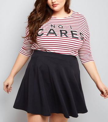 Curves Black Flounce Skater Skirt