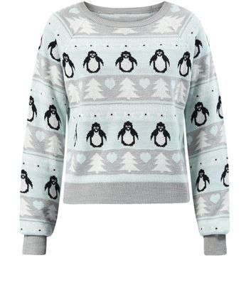 Mint Green Fairisle Penguin Print Jumper | New Look