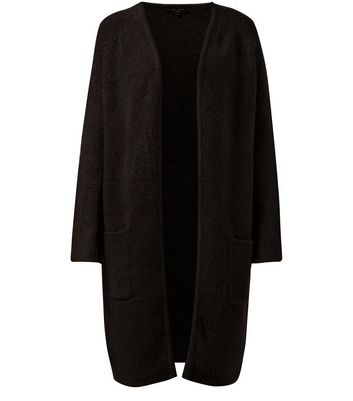 Tall Black Textured Knit Midi Cardigan
