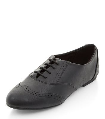 Teens Black Embossed Lace Up Brogues