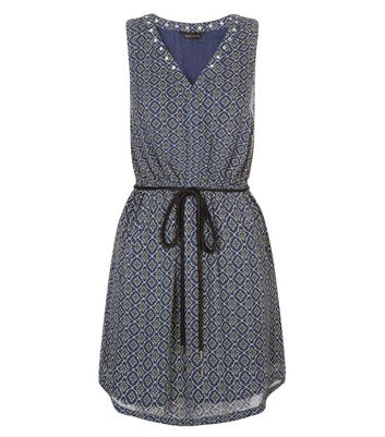 Blue Tile Print Eyelet Trim Sleeveless Tunic Dress