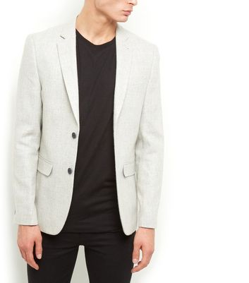 Cream Textured Blazer