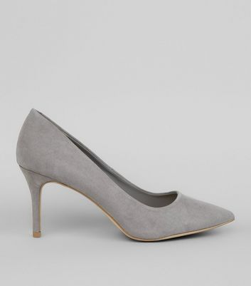 Grey Suedette Mid Heel Pointed Court Shoes