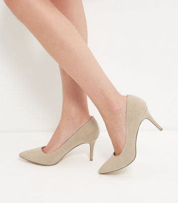 Stone Pointed Mid Heel Court Shoes