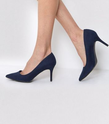 Navy Suedette Mid Heel Pointed Court Shoes