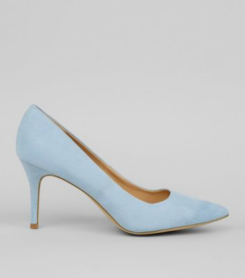 Pale Blue Suedette Mid Heel Pointed Court Shoes