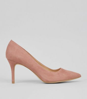 Pink Suedette Mid Heel Pointed Court Shoes