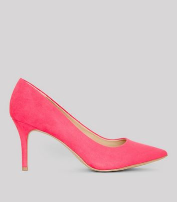 Mid Pink Suedette Mid Heel Pointed Court Shoes