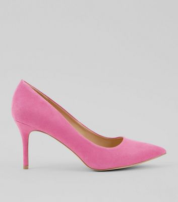 Bright Pink Suedette Mid Heel Pointed Court Shoes
