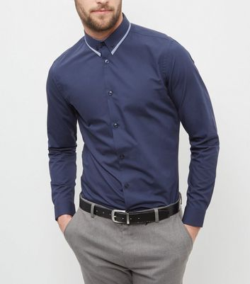 Navy Contrast Trim Collar Long Sleeve Shirt