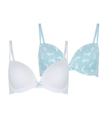 Teens 2 Pack Mint Green and White Unicorn Print Underwired Bras