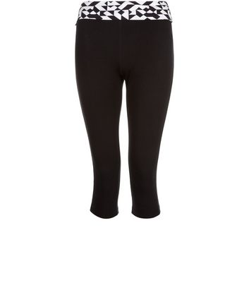 Black Sports Geo Trim Cropped Yoga Leggings
