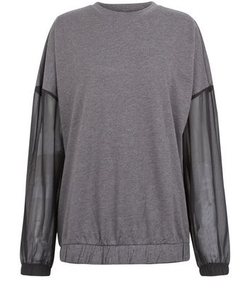JDY Grey Sheer Sleeve Sweatshirt