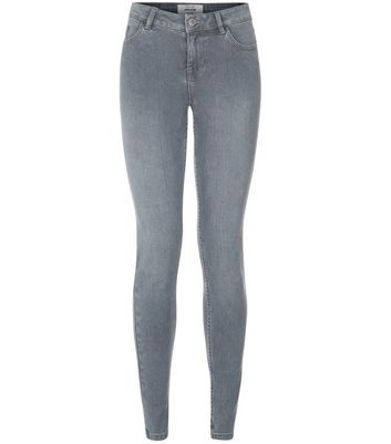 Graue superweiche, superenge Skinny-Jeans