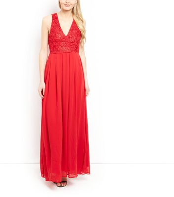 AX Paris Red Lace Panel Maxi Dress