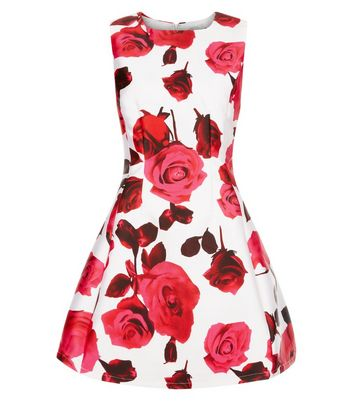 AX Paris Cream Floral Print Skater Dress