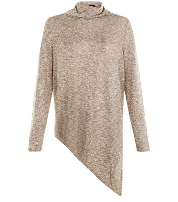 Camel Fine Knit Cowl Neck Asymmetric Top
