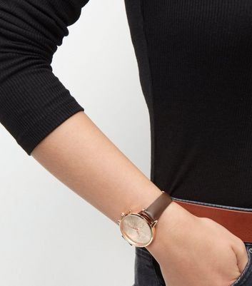 Brown Leather-Look Strap Watch