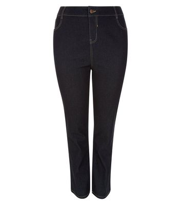 Curves Navy Straight Leg Jeans