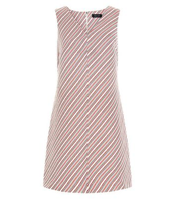 Red Stripe Jacquard V Neck Shift Dress