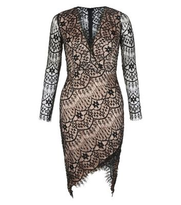 AX Paris Black Lace Wrap Front Dress