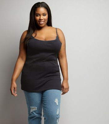 Curves Black Scoop Neck Shoestring Vest