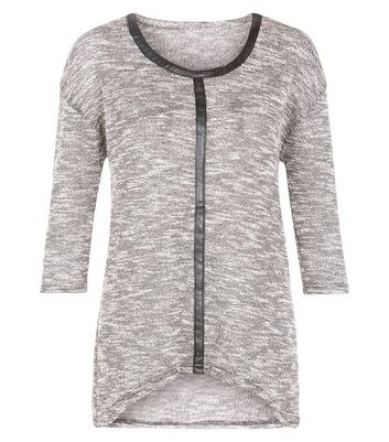 Madam Rage Grey Leather-Look Trim Jumper