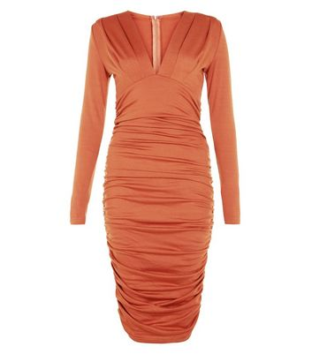 AX Paris Rust V Neck Rouched Front Dress