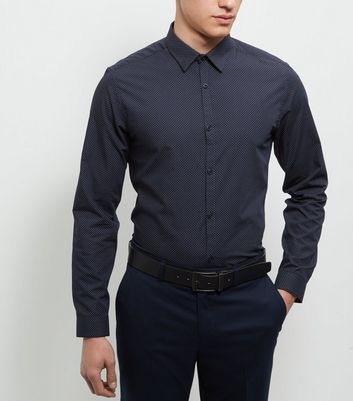 Navy Pin Dot Print Long Sleeve Shirt