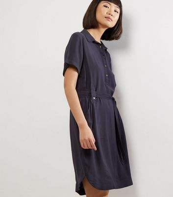 Navy Cross Hatch Short Sleeve Shirt Dress