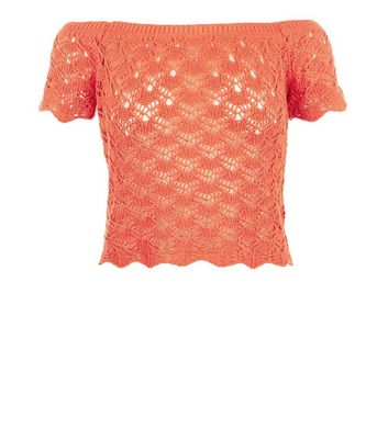 Bright Orange Crochet Bardot Neck Top