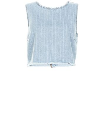 Pale Blue Stripe Fray Trim Denim Crop Top
