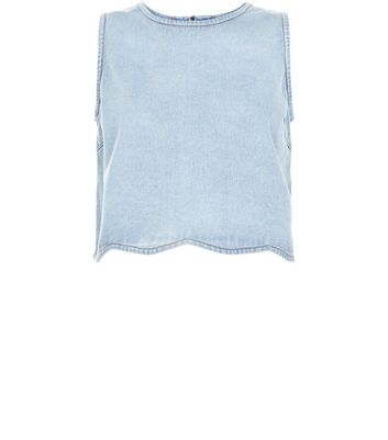 Pale Blue Scallop Hem Crop Top