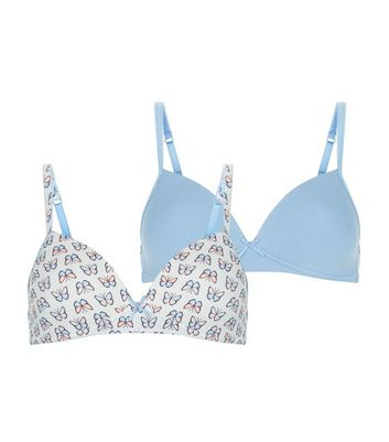 Teens 2 Pack Blue Butterfly Print Non Wired Bra