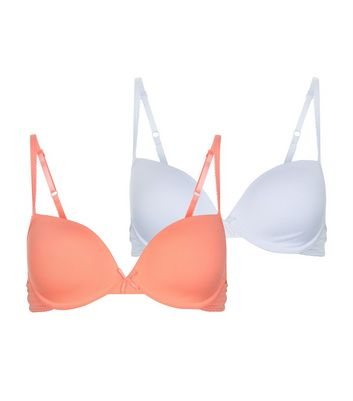 Teens 2 Pack Neon Coral and White Underwired Bras