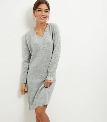Pale Grey V Neck Tunic Dress
