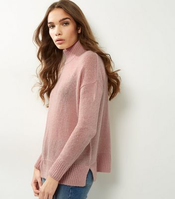 Shell Pink Turtle Neck Jumper