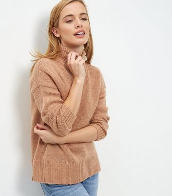 Petite Camel Ribbed Turtle Neck Jumper