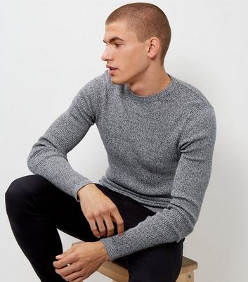 Black Speckled Cotton Ribbed Jumper