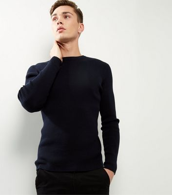 Navy Cotton Ribbed Jumper