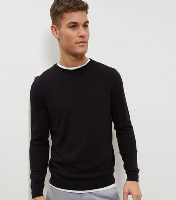 Black Cotton Crew Neck Jumper