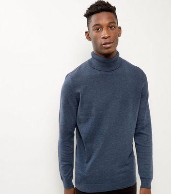 Blue Cotton Roll Neck Jumper