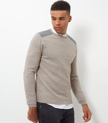 Cream Textured Patch Jumper
