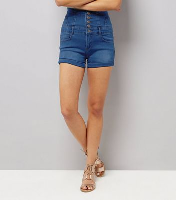 Blue Button Front High Waisted Denim Shorts