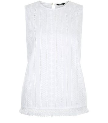 White Laser Cut Out Fray Hem Sleeveless Top