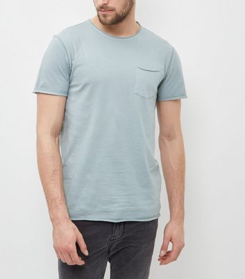 Light Green Washed Single Pocket Crew Neck T-Shirt