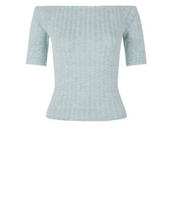 Light Green Fine Knit Ribbed Bardot Neck Top