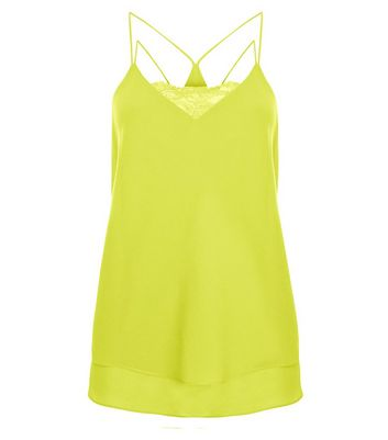 Lime Lace Trim Double Strap Layered Cami