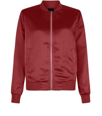 Teens Burgundy Sateen Bomber Jacket
