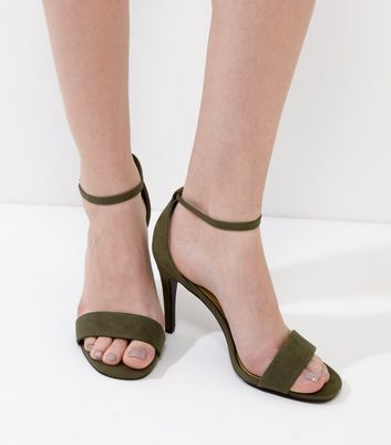 Dark Green Suedette Ankle Strap Heeled Sandals